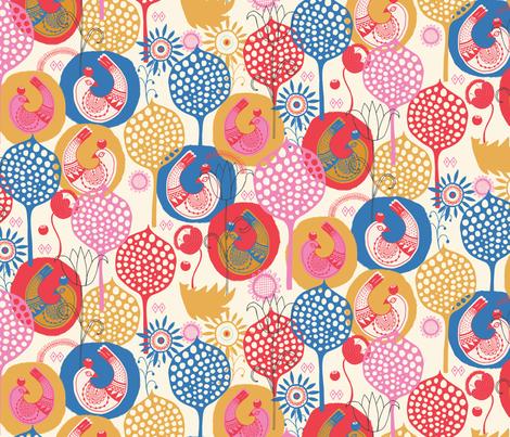 Folk Birds Warm fabric by zoe_ingram on Spoonflower - custom fabric
