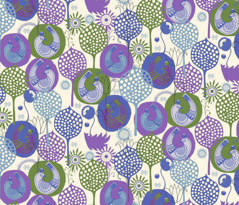 Folk Birds Cool fabric by zoe_ingram on Spoonflower - custom fabric