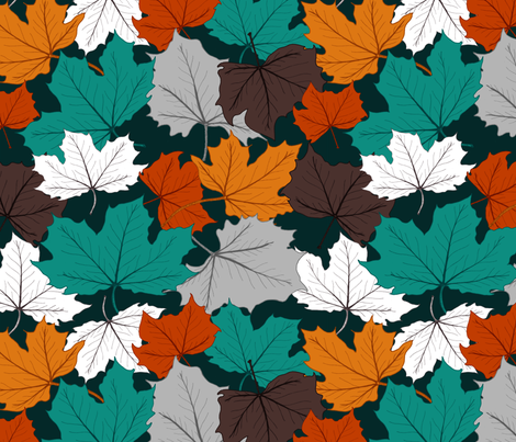 fall Leaves in bright colors fabric by daniteal on Spoonflower - custom fabric