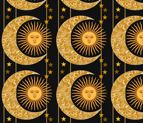 Sun,Moon and Stars fabric by floramoon on Spoonflower - custom fabric