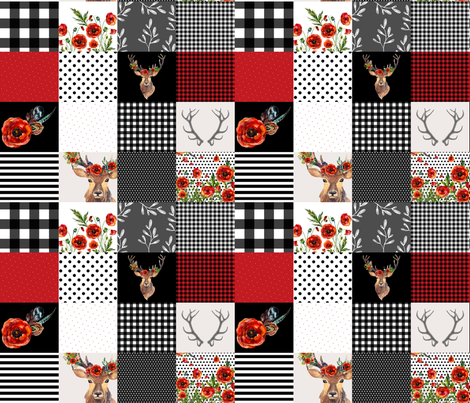 Deer in Love Whole Cloth / Cheater Quilt fabric by shopcabin on Spoonflower - custom fabric
