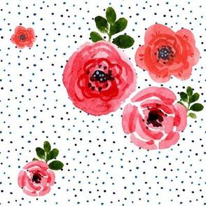 Roses - Shibori Blue Polka Dots