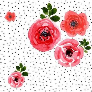 Roses - Shibori Black Polka Dots