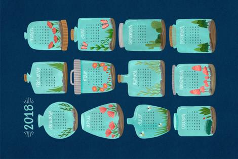 2018 Terrarium Calendar - Navy fabric by jaymehennel on Spoonflower - custom fabric