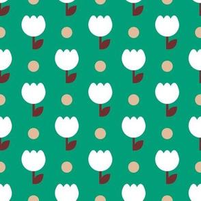 White Tulip Geometric Emerald Earth Tones / Pattern Design