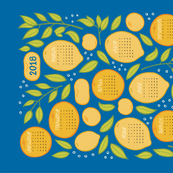 2018 Citrus Tea Towel Calendar - Royal Blue