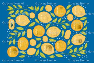 2019 Citrus Tea Towel Calendar - Royal Blue