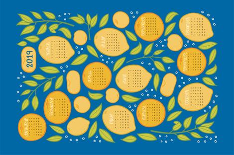 2019 Citrus Tea Towel Calendar - Royal Blue fabric by jaymehennel on Spoonflower - custom fabric