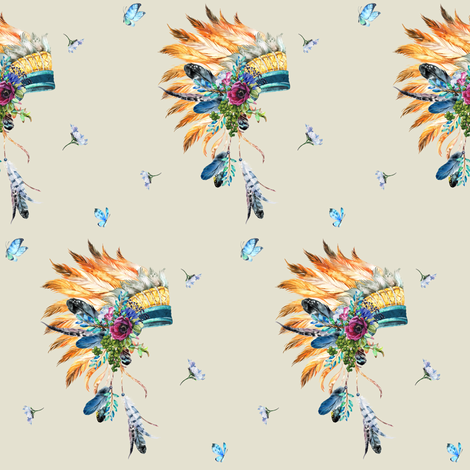 Young Souls Run Wild and Free - Indian Headdress in Tan fabric by shopcabin on Spoonflower - custom fabric