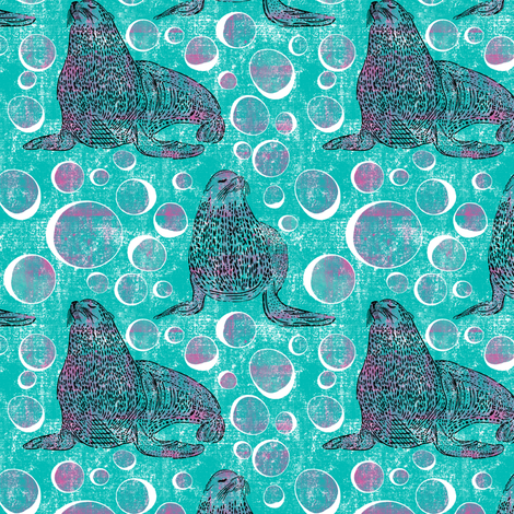 Seals and Bubbles fabric by natalievmason on Spoonflower - custom fabric