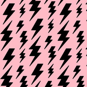 lightning bolts black on light baby pink » halloween