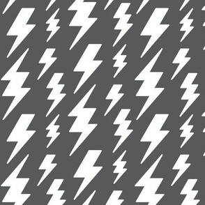 lightning bolts white on dark grey » halloween - monochrome