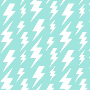 lightning bolts white on light baby teal blue » halloween