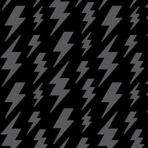 lightning bolts dark grey on black » halloween - monochrome