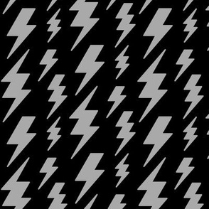 lightning bolts light slate grey on black » halloween - monochrome