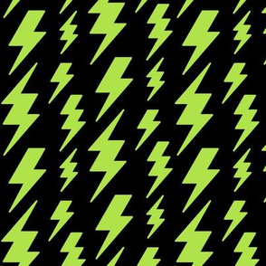 lightning bolts lime green on black » halloween