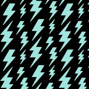 lightning bolts light baby teal blue on black » halloween