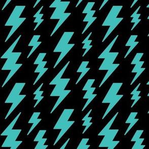 lightning bolts teal blue on black » halloween