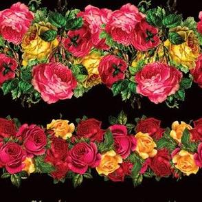 Vertical Rose Floral Garlands in Black