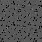 starry black on dark grey » halloween - monochrome stars