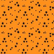 starry black on orange » halloween stars