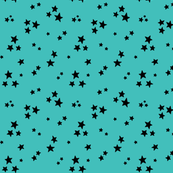 starry black on teal blue » halloween stars