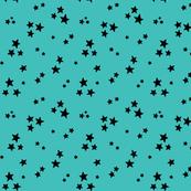 starry black on teal blue » halloween stars