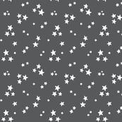 starry white on dark grey » halloween - monochrome stars