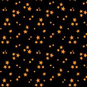 starry orange on black » halloween stars