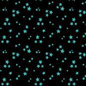 starry teal blue on black » halloween stars
