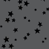 starry LG black on dark grey » halloween - monochrome stars