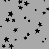 starry LG black on light slate grey » halloween - monochrome stars