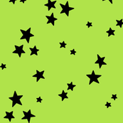 starry LG black on lime green » halloween stars