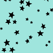 starry LG black on light baby teal blue » halloween stars