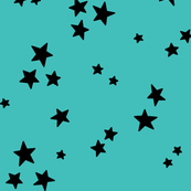 starry LG black on teal blue » halloween stars