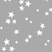 starry LG white on light slate grey » halloween - monochrome stars