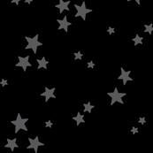 starry LG dark grey on black » halloween - monochrome stars