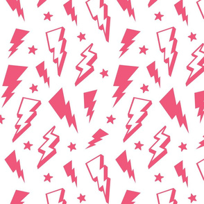 lightning + stars hot pink on white bolts