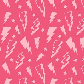 lightning + stars light baby pink on hot pink monochrome bolts