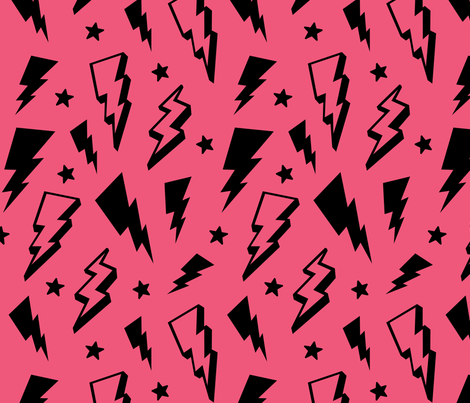 lightning + stars black on hot pink bolts fabric by misstiina on Spoonflower - custom fabric