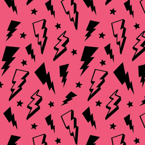 lightning + stars black on hot pink bolts