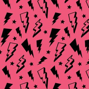 lightning + stars black on hot pink bolts