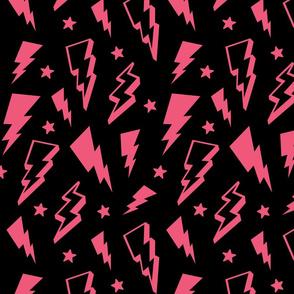 lightning + stars hot pink on black bolts