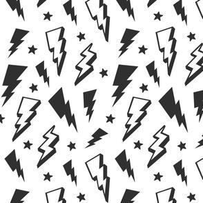 lightning + stars dark grey on white monochrome bolts