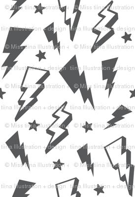 lightning + stars grey on white monochrome bolts