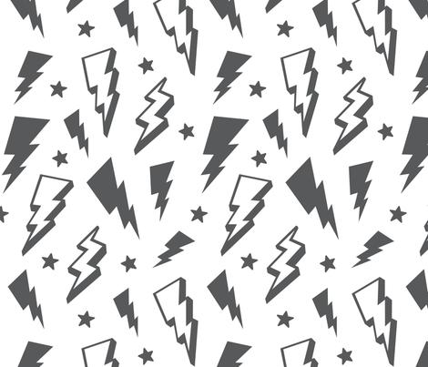 lightning + stars grey on white monochrome bolts fabric by misstiina on Spoonflower - custom fabric