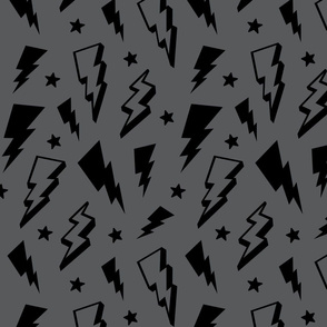 lightning + stars black on grey monochrome bolts