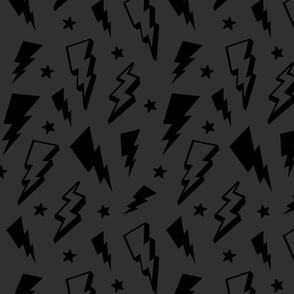 lightning + stars black on dark grey monochrome bolts