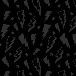 lightning + stars dark grey on black monochrome bolts