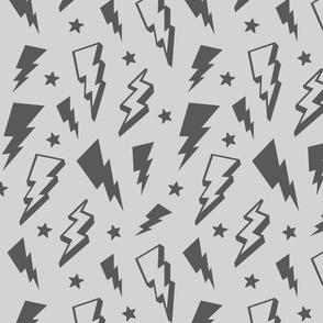 lightning + stars grey on light grey monochrome bolts